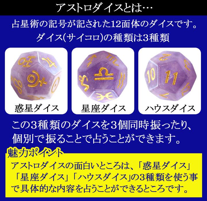 アストロダイスアメジストの惑星ダイス星座ダイスハウスダイスの説明